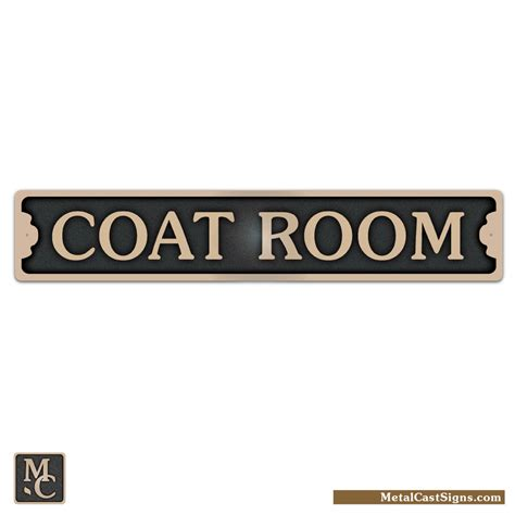 coat room 8 75 quot bronze door sign metal cast sign co