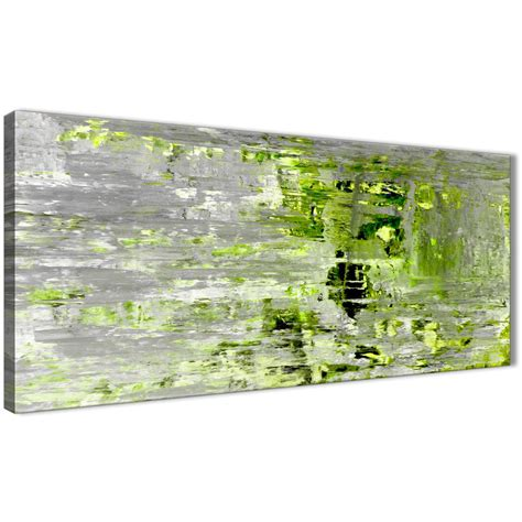 Painting Green 9 G lime green grey abstract painting wall print canvas modern 120cm wide 1360
