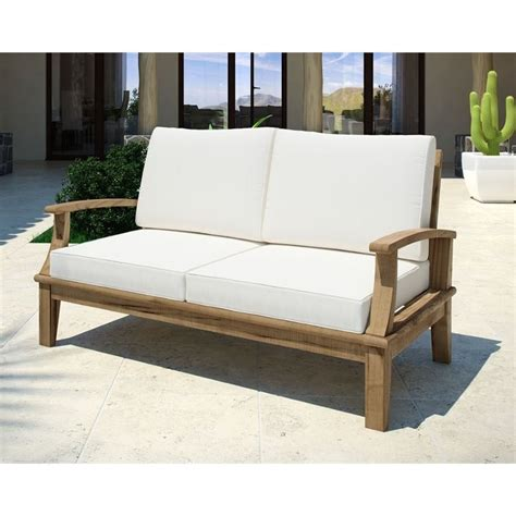 white outdoor loveseat modway marina outdoor teak loveseat in natural and white