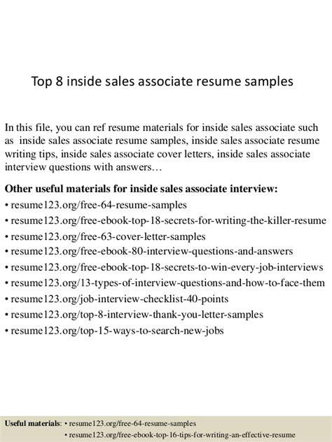 Inside Sales Associate Sle Resume by Top 8 Inside Sales Associate Resume Sles