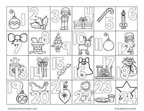 Printable Colour In Advent Calendar | christmas countdown day 1 advent calendar coloring page