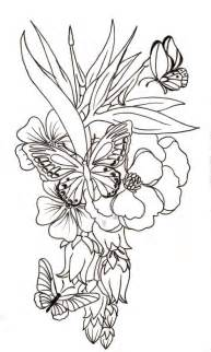 flower tattoo outline butterfly and flower by metacharis on deviantart