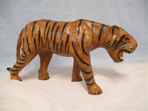How To Make A Paper Mache Tiger - vintage leather paper mache tiger india by belfry122 on
