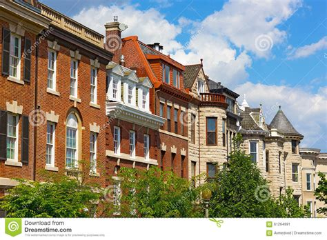 old residential section of washington dc residential townhouses in washington dc usa stock photo