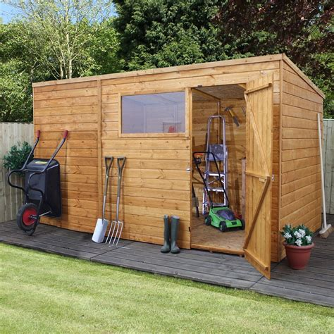 shedswarehouse oxford 10ft x 8ft tongue groove pent shed with single door 1 window