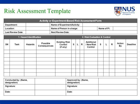 Workplace Risk Assessment Template by 31 Workplace Risk Assessment Form Primary Marevinho