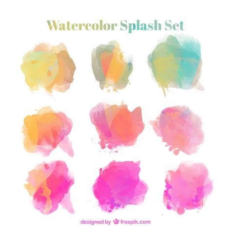 watercolor splash set vector free