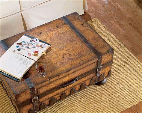 vintage world map style steamer storage trunk coffee