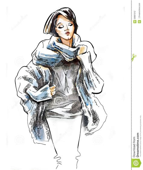 fashion illustration winter wear sketch of wearing in winter clothes stock