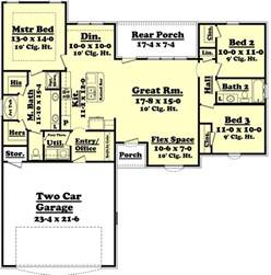 ranch style house plan 3 beds 2 baths 1500 sq ft plan 430 59