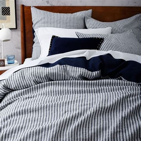 west elm bed skirt striped belgian linen duvet cover shams midnight