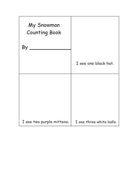 snowman book report template 5 best images of snowman counting book printable