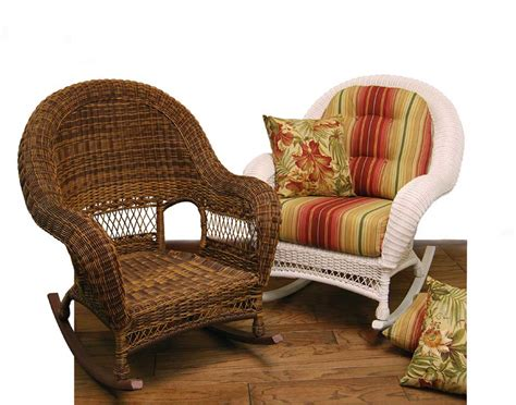 White Wicker Rocking Chair Using Assorted Color Striped
