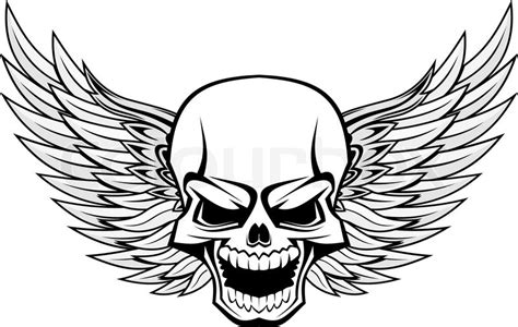 danger smiling skull with wings for tattoo design stock