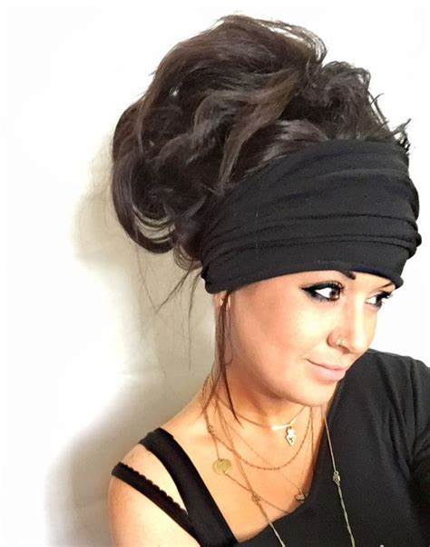 Motorcycle Apparel Headbands by Free Shipping Black Scrunch Headband Extra Wide By