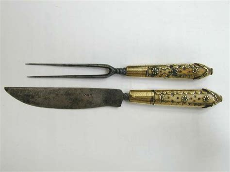 Kitchen Forks And Knives A 17th Century Ivory And Brass Handled Fork And Knife Set In Leather Sheath Utensils