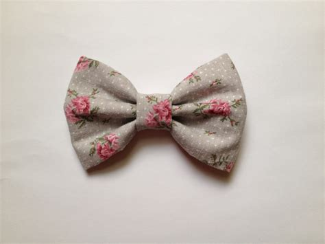 Handmade Bows - big hair bow vintage bow pink floral hair bow handmade