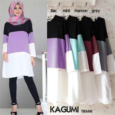 Tunik Atasan Blouse Wanita Baju Muslim Tunic Kancing baju atasan tunik kagumi b062 model busana muslim remaja
