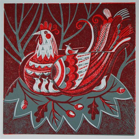 relief print hen two colour relief print