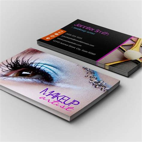 free business card template for makeup artist stylish eye shadow makeup artist business card template