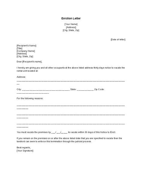 sle eviction notice letter template