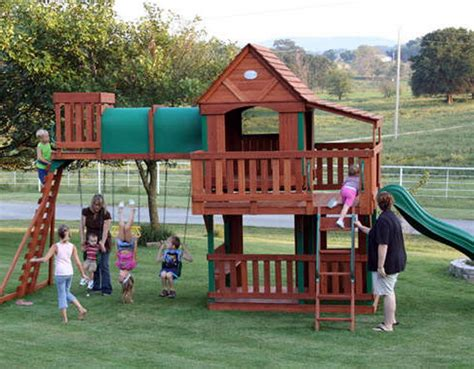 swing set with clubhouse new giant wood swingset playground swing set clubhouse ebay
