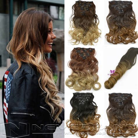 Hairclip Wavy 40 50cm 1set 16 hair extension 20 quot 50cm 7pcs set hairpiece hair wavy curly synthetic