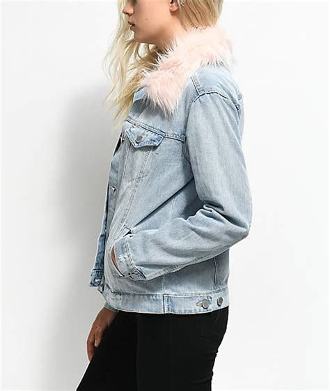 light wash denim jacket with fur collar almost light wash pink fur collar denim jacket