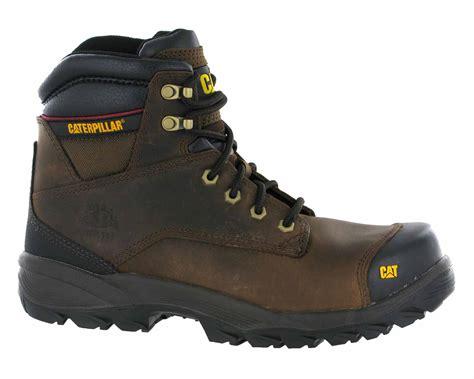 mens steel toe cap work boots mens caterpillar spiro brown leather steel toe cap work