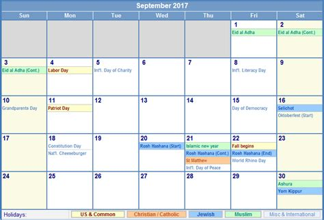 Calendar September 2017 With Holidays September 2017 Calendar With Holidays Canada Calendar