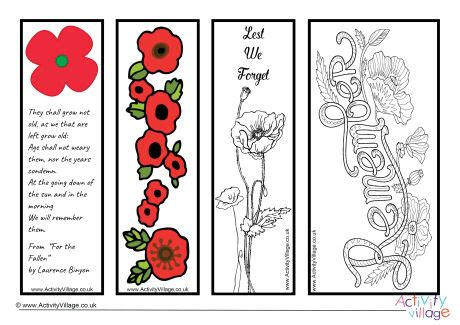 printable poppy bookmark remembrance day bookmarks