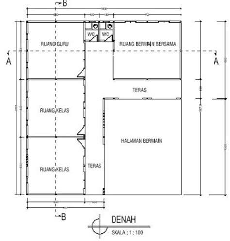 gambar denah ruang kelas tk desain bangunan gedung taman kanak kanak penataan