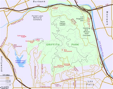 griffith park map griffith park los angeles california