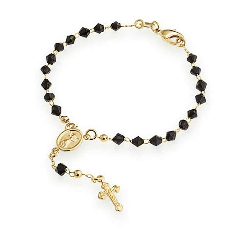 rosary bead jewelry faceted black onyx color cross rosary bracelet gold filled 7in