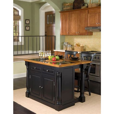 Oak Kitchen Island With Seating home styles monarch black kitchen island with seating 5009