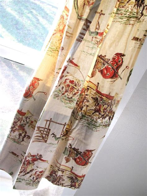 vintage cowboy curtains vintage cowboy curtains set of four two pair western