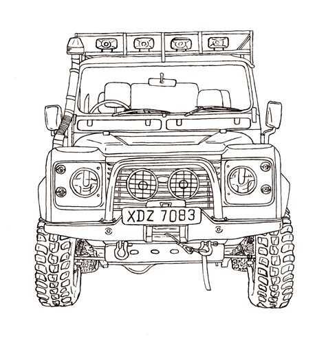 range rover drawing land rover defender 90 ink drawing land rover