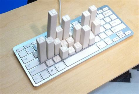 Letter Use Frequency keyboard skyscrapers show you the frequency of each letter