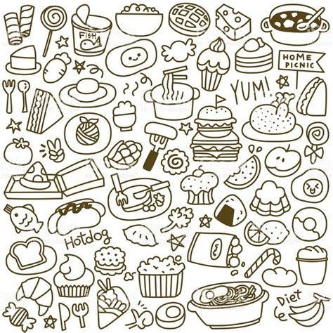 food doodle set of food doodle stock vector more images of