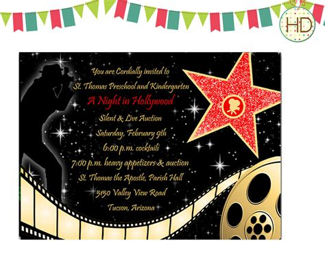 Free Templates For Hollywood Invitations | 40th birthday ideas hollywood birthday invitation