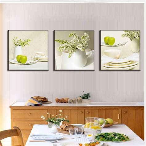 Dining Room Prints 3 Pieces Modern Spray Canvas Painting Dinner Plate With Apples Painting Print Dining Room