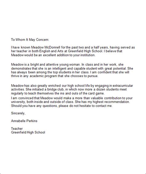 Letter Of Recommendation For High School Student From For College Best Photos Of College Letter Of Recommendation Templates College Recommendation Letter