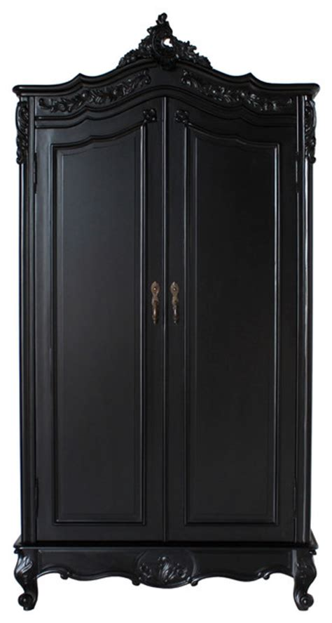 emilie solid door armoire in black traditional