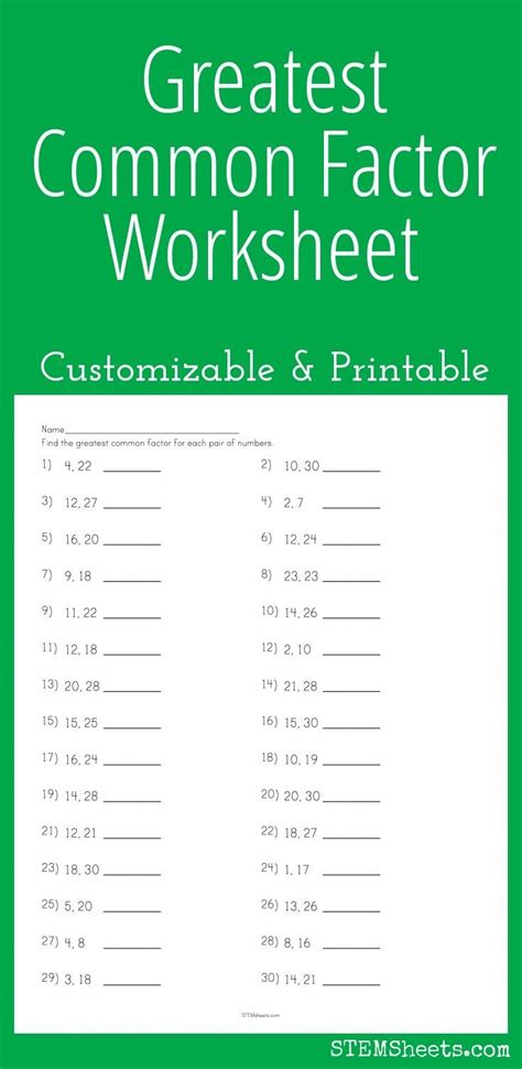 Greatest Common Factor Worksheets by Greatest Common Factor Worksheets 8th Grade 1000 Ideas