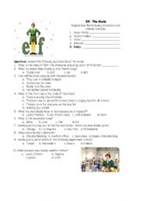 printable christmas games for middle school english worksheet elf the movie questions general