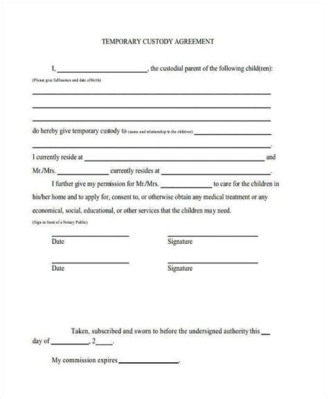 temporary will template notarized custody agreement template letter world