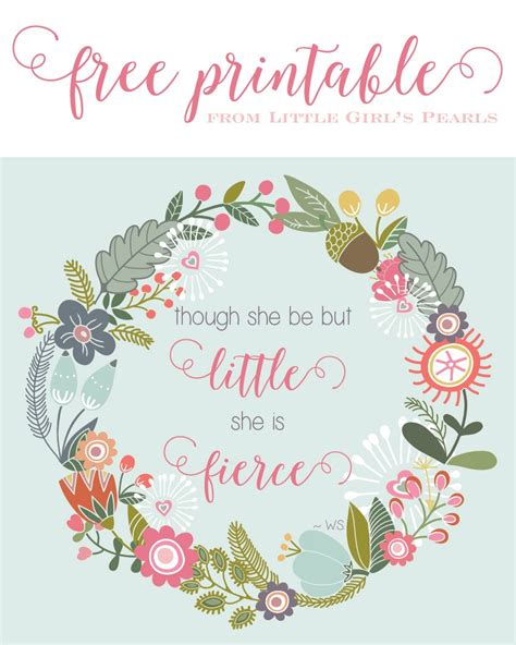 though she be but little she is fierce tattoo though she be free printable pearls