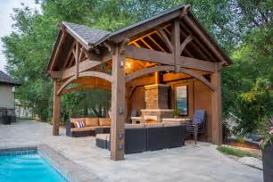 Garage Truss Design 3rd gable pavilion w privacy wall amp fireplace western