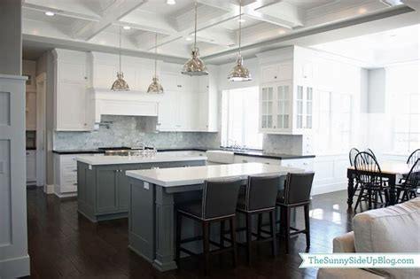 gray shaker kitchen cabinets with engineered white quartz ben moore chelsea gray island paint combo of black and