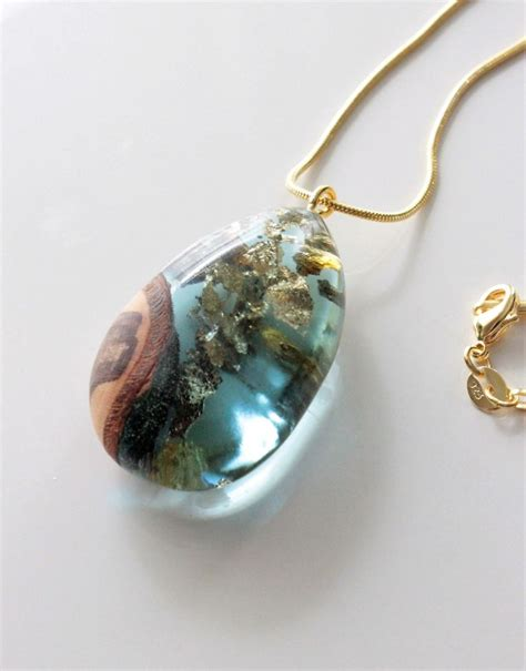 Handmade Resin Jewellery - gold necklace with wood resin pendant handmade pendant